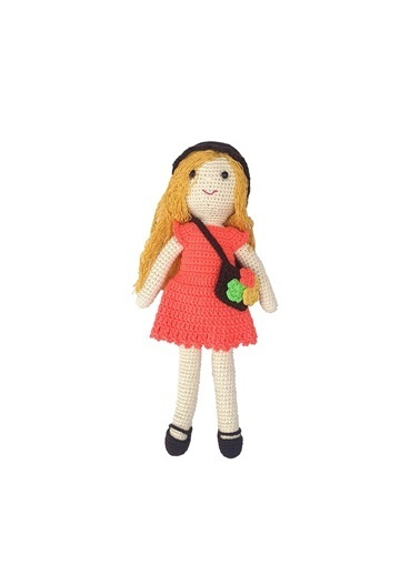 Quzucuk Kids Amigurumi Özel Tasarım Organik El Örgüsü Çantalı Kız Bebek Oyuncak 30 Cm Renkli